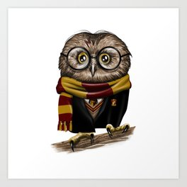 Owly Wizard Art Print