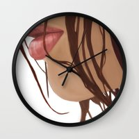 mouth Wall Clocks featuring Mouth by Derek Donovan