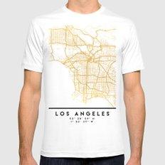LOS ANGELES CALIFORNIA CITY STREET MAP ART White Mens Fitted Tee MEDIUM