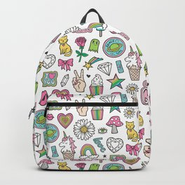 Patches Stickers 90's Doodle Unicorn Ice Cream, Rainbow, Hearts, Stars, Gemstones,Flowers White Backpack