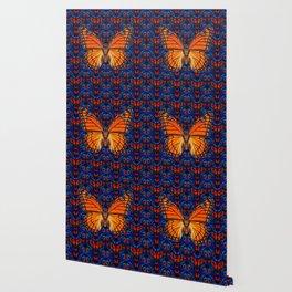 ORANGE BUTTERFLIES  & DARK BLUE ART PATTERN Wallpaper