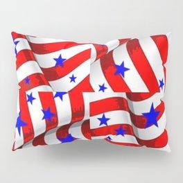 RED PATRIOTIC JULY 4TH BLUE STARS ART Pillow Sham