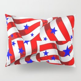 RED PATRIOTIC JULY 4TH BLUE STARS ART Pillow Sham