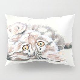 Cute Maine Coon Kitten Playing Pillow Sham