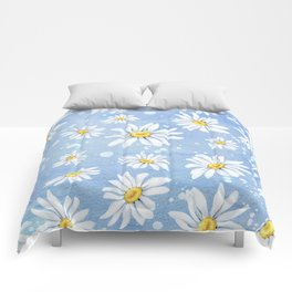 Spring Daisies On Sky Blue Watercolour Comforters