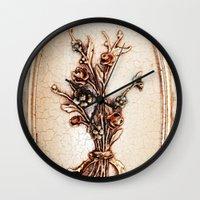vintage flowers Wall Clocks featuring Vintage Flowers by Christine baessler