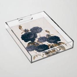 blue flowers Acrylic Tray