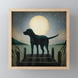 Black Dog Labrador Lake Dock Moon Cottage Cabin Framed Mini Art Print