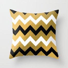 Gold, Black, & White Chevron Throw Pillow