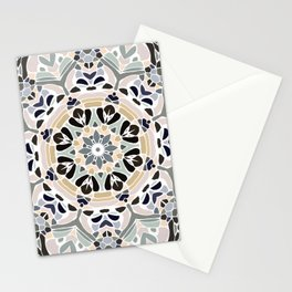 Floral Multicolored Mandala with Light Linen Texture Stationery Cards