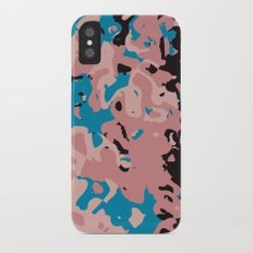 Pink and blue swirl abstract iPhone X Slim Case