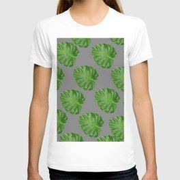 GREEN TROPICAL CUT LEAF ON GREY  DESIGN ART T-shirt