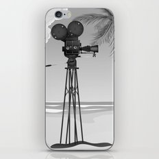 Vintage old time movie camera on a beach iPhone & iPod Skin