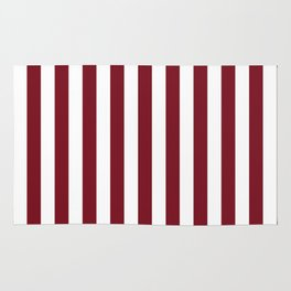 Deep Dark Red Pear and White Beach Hut Stripe Rug