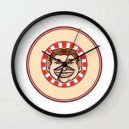 Grinning Funny Face Mascot Circle Retro Wall Clock