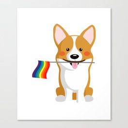 LGBT Gay Pride Flag Corgi - Pride Women Gay Men Canvas Print