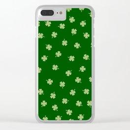 Green Shamrocks Green Background Clear iPhone Case