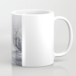 Black White Red mother and child with Umbrella print of painting rainy cloudy surrealism Coffee Mug