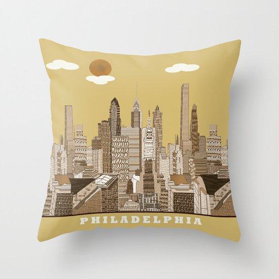 Philadelphia skyline vintage Throw Pillow