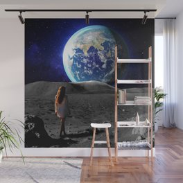 girl on the moon Wall Mural