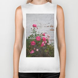 pink roses and old wall Biker Tank