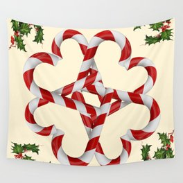 CREAMY YELLOW  RED-WHITE PINK  CHRISTMAS CANDY CANES Wall Tapestry