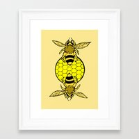 bees Framed Art Prints featuring Bees by Chelsey Hamilton