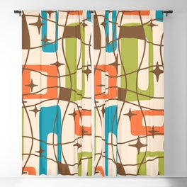 Mid Century Modern Cosmic Squares Pattern 321 Orange Blue and Green Blackout Curtain