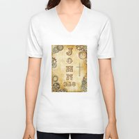 bible verse V-neck T-shirts featuring Steampunk Bible Verse John 3:16 by Whimsy and Nonsense