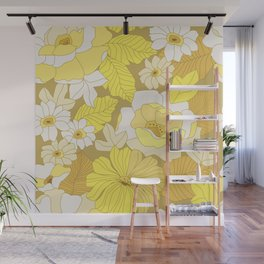 Yellow, Ivory & Brown Retro Flowers Wall Mural