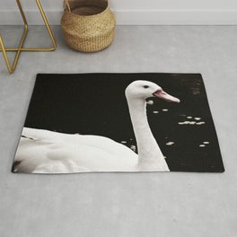 Swan in Black and White Rug