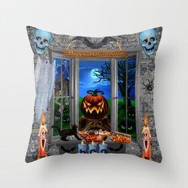 Halloween Pumpkin Night Stalker Throw Pillow