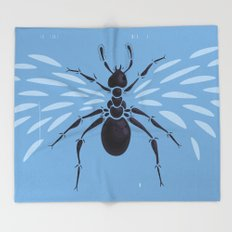Weird Abstract Flying Ant Throw Blanket