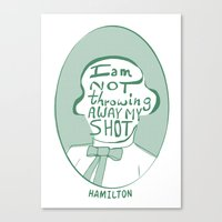 amy hamilton Canvas Prints featuring Hamilton by tuesdayjones