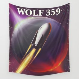 Wolf 359 Vintage science fiction space travel Wall Tapestry