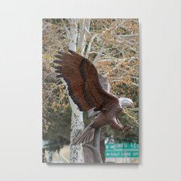American Eagle and Birch Tree Metal Print