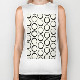 Polka Dots Circles Tribal Black and White Biker Tank