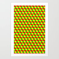 rasta Art Prints featuring Cubed - Rasta by Matt Cutaia