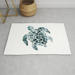 Sea Turtle - Turquoise Ocean Waves Rug