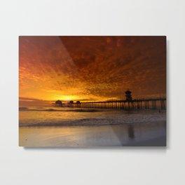California Sunset * Huntington Beach Pier Metal Print
