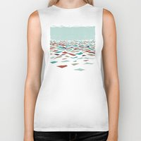 mosaic Biker Tanks featuring Sea Recollection by Efi Tolia