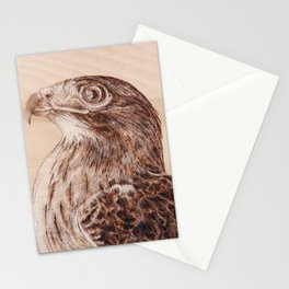 Hawk Portrait - Drawing by Burning on Wood - Pyrography Art Stationery Cards