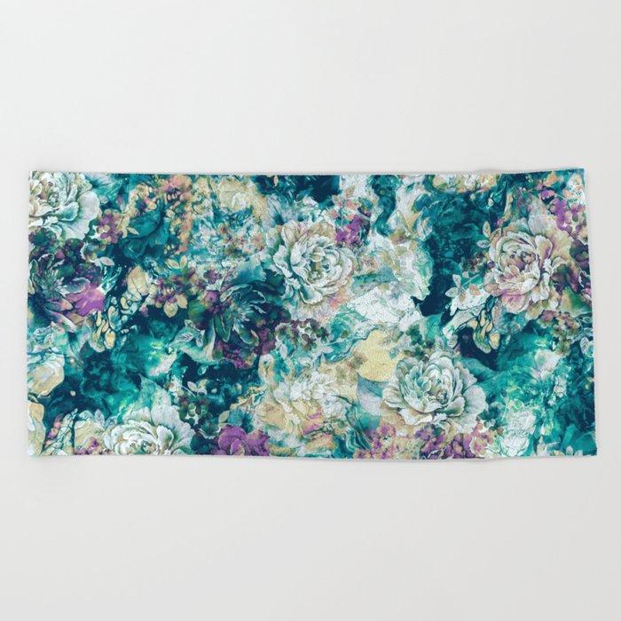 Frozen Flowers Beach Towel