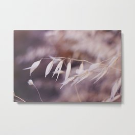 Tiny White Leaves Photography Print Metal Print