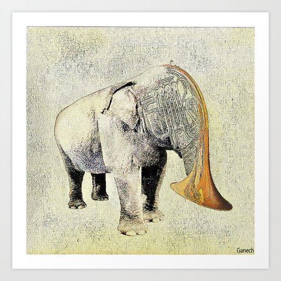 the elephant musician Art Print