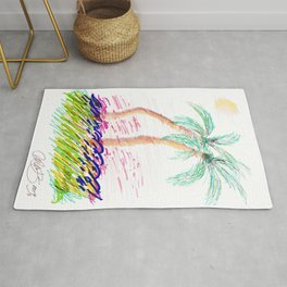 """Sister Palms"" Mixed Media Sketch Rug"