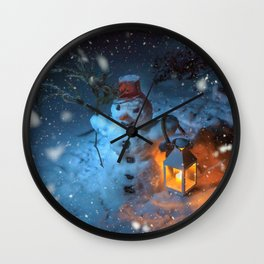 Snowman at night Wall Clock