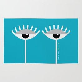 Unamused Eyes | White on Blue Rug