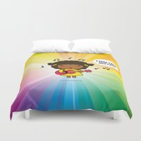rock n roll Duvet Covers featuring I love Rock N' Roll by Jazmin Cruz