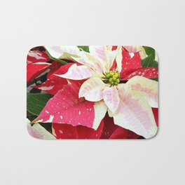 Red and White Poinsettia Bath Mat